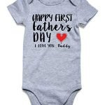BFUSTYLE Baby Boys Girls Unisex Pregnancy Reveal Bodysuit Happy 1st Father's Day I Love You Daddy Onesie Cotton Summer Heart One-Piece Jumpsuit Infant Father's Day Romper 6 Months