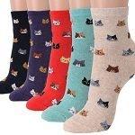OKIE OKIE Womens Best Socks Gift Set-Cute Animals Art Cartoon Character Funny Novelty Crew (Animal - Friends Cat 5pcs)