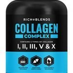RichBlends Multi Collagen Peptides (Types I, II, III, V, X) - Collagen Pills - Anti-Aging, Hair, Skin, Nails, and Joint Support (90 Capsules)