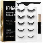 easbeauty 2020 Upgraded Magnetic Eyeliner and Eyelashes Kit, Magnetic Eyelash with Eyeliner, False Lashes 5 Pairs with Tweezers, Easy to Wear