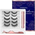 Vassoul Magnetic Eyelashes and Magnetic Eyeliner Kit with Tweezer, Reusable and Upgraded 3D Magnetic Eyelashes, Waterproof Magnetic Eyeliner and Magnetic Eyelash Kit…