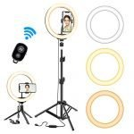 """Selfie Ring Light with Tripod Stand, GPED 10.2"""" Dimmable LED Makeup Beauty Ringlight with Phone Holder for iPhone/Android/YouTube Video/Live Stream/Photography, 3 Light Modes & 10 Brightness Level"""