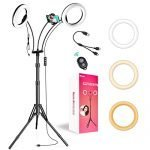 """iMartine LED Ring Light 8"""" with Tripod Stand and Phone Holder, Professional 2 Makeup Selfie Light Rings for Photography YouTube Video Vlog, [6 Lighting Modes] [360° Flexible Goose Neck] [2700K-6000K]"""
