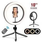 "10"" LED Ring Light, Selfie Ring Light with Tripod Stand and Phone Holder Use for Makeup/Live Stream/YouTube/Photography, 3 Color Modes & 10 Brightness Level Dimmable Desk Circle Light"