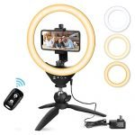 "10"" LED Selfie Ring Light with Tripod Stand and Phone Holder, Aureday Mini Halo Light for Live Stream/Makeup/YouTube Video/Photography, Compatible with iPhone Android"