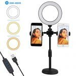"6"" Selfie Ring Light with Stand Sansen, Adjustable Stand & Cell Phone Holder for Live Stream/Makeup, Mini LED Camera Ringlight for YouTube Video/Photography Compatible with iPhone XR Xs Max Android"