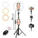 "Selfie Ring Light, 10"" Selfie Lights 120 LED Bulbs with Tripod Stand 18"" to 63"" & Cell Phone Holder for Live Stream/Makeup/YouTube Video/Photography, Compatible for iPhone Android(Upgraded) A (10"")"