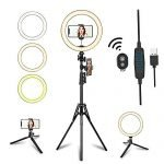 "10.2"" LED Selfie Ring Light with Tripod Stand & Phone Holder for Live Streaming & YouTube Video, Dimmable Makeup Ring Light for Photography, Shooting with 10 Brightness Level & 3 Light Modes"
