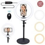 "Xeneo 10"" Desktop Selfie Ring Light with 3 Modes Color, Ring Light, Adjustable Phone Holder,Remote Shutter for YouTube,Video Shooting,Selfie,Live Stream,Makeup (Black)"