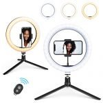 "10.2""Selfie Ring Light with Tripod Stand & Phone Holder & Remote Control & 10 Brightness Level & Dimmable 3 Light Modes for Makeup/Live Stream/YouTube Video/Vlogs/Photography"