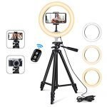 "10"" USB Selfie LED Ring Light with 50"" Extendable Tripod Stand & Flexible Phone Holde for Live Stream/Makeup, Camera, YouTube Video Photography, Compatible with iPhone/Android"