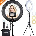 Inkeltech Ring Light - 18 inch 3000K-6000K Dimmable Bi-Color Light Ring, 60W LED Ring Light with Stand, Lighting Kit for Vlog, Selfie, Makeup, YouTube, Camera, Phone - LCD Screen & Remote Control