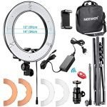 "Neewer RL-12 LED Ring Light 14"" outer/12 on Center with Light Stand, Soft Tube, Filter, Carrying Bag for Makeup, YouTube,TikTok,Camera/Phone Video Shooting"