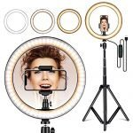 "Amconsure LED Ring Light,10"" Selfie Ring Light with Adjustable Tripod Stand & Phone Holder for Live Stream/Makeup/YouTube Video/Photography Compatible iPhone Android"