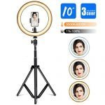 "Gugusure Ring Light, 10"" Led Ring Light with Tripod Stand & Phone Holder for Live Stream/Make Up/YouTube, Selfie Ring Light with 3 Light Modes and 10 Brightness Level, Compatible with iPhone/Android"