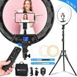 """Yesker Ring Light 18"""" Wireless Remote LCD Screen with Tripod Stand 65W LED Ringlight Bi-Color 3200-5500K CRI≥95 for YouTube Portrait Live Stream Photography Tiktok Video Zoom Meeting Online Teaching"""