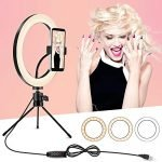 Ring Light with Tripod Stand and Phone Holder, 10 inch Desktop Circle Light with 3 Lighting Colors and 10 Brightness, Portable Halo Light for YouTube, Makeup, Live Streaming, Video Shooting