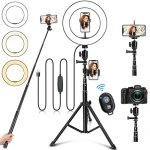 "10"" Ring Light with Stand and Phone Holder, Selfie Ring Light with Tripod Stand, Dimmable LED Ring Light Desktop Selfie Light Ring Led Camera Ringlight for Live Stream/Makeup/YouTube/TikTok"