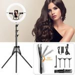 Foldable Ring Light with Tripod Stand and Phone Holder, 14 inch Dimmable, 3 Color Modes and 10 Brightness, Heighten Hose, Foldaway Ring Light Kit for YouTube, Live Streaming, Video Shooting
