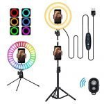 "10"" RGB Selfie Ring Light LED Desk Ring Light with Tripod Stand and Cell Phone Holder, USB Circle Light for YouTube Video, Makeup, Live Stream, Photography"